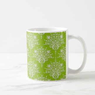 Olive Green and White Damask Coffee Mugs