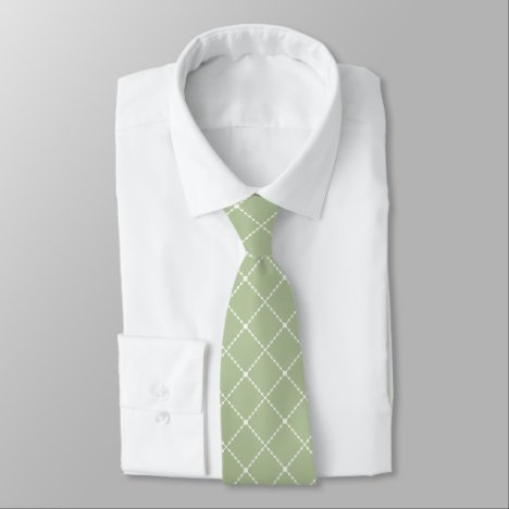 Olive Green and White Diamond Shaped Tie