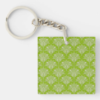 Olive Green and White Floral Damask Keychain