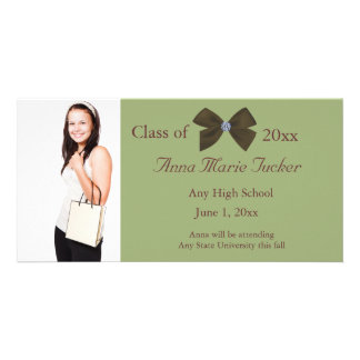 Olive Green and White Graduation Photo Card