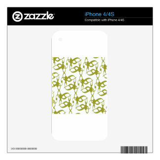 Olive Green and White Lace iPhone 4 Decals