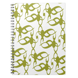 Olive Green and White Lace Spiral Notebook