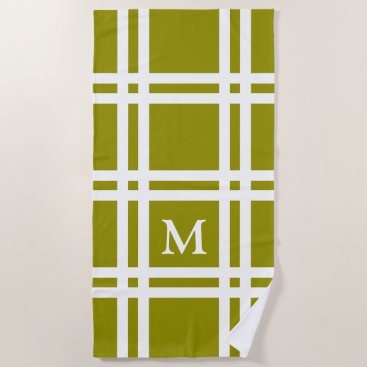 Beach Themed Olive Green and White Lattice Monogram Beach Towel