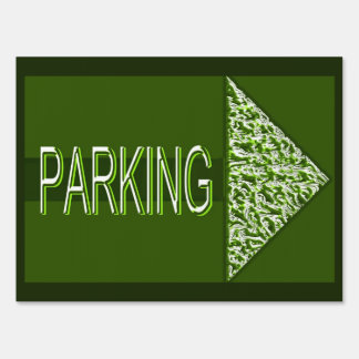 Olive Green and White Parking Sign