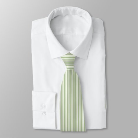 Olive Green and White Pinstriped Tie