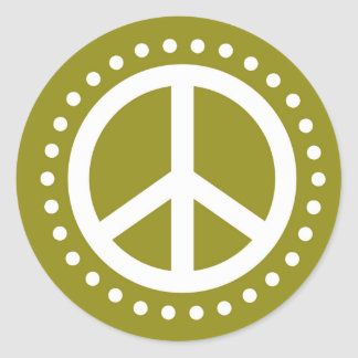 Olive Green and White Polka Dot Peace Sign Classic Round Sticker