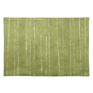 Olive green and white stripe cloth placemat