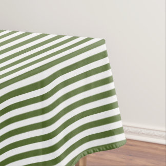 Olive Green and White Stripe Tablecloth