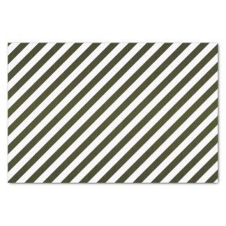 "Olive Green and White Stripes 10"" X 15"" Tissue Paper"
