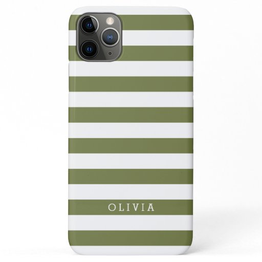Olive Green and White Stripes Monogrammed iPhone 11 Pro Max Case