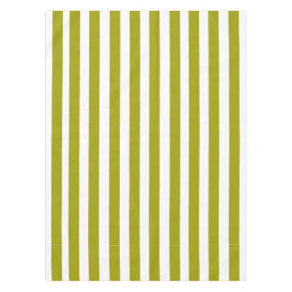 Olive Green and White Stripes Pattern Tablecloth