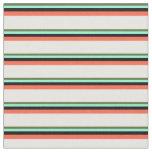 [ Thumbnail: Olive Green, Aquamarine, Black, Red & Mint Cream Fabric ]