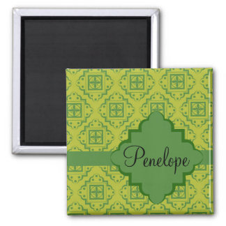 Olive Green Arabesque Moroccan Graphic Pattern 2 Inch Square Magnet