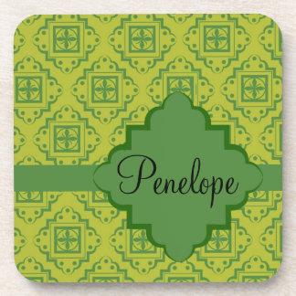 Olive Green Arabesque Moroccan Graphic Pattern Beverage Coaster