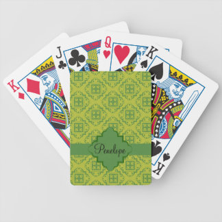 Olive Green Arabesque Moroccan Graphic Pattern Bicycle Playing Cards