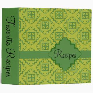 Olive Green Arabesque Moroccan Graphic Pattern Binder