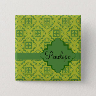 Olive Green Arabesque Moroccan Graphic Pattern Button
