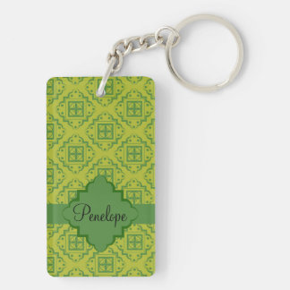 Olive Green Arabesque Moroccan Graphic Pattern Double-Sided Rectangular Acrylic Keychain