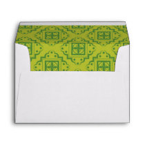 Olive Green Arabesque Moroccan Graphic Pattern Envelope