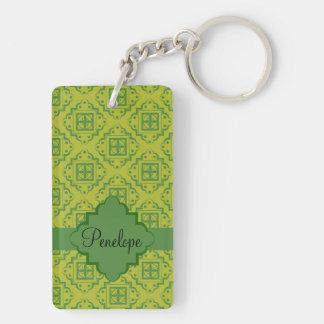 Olive Green Arabesque Moroccan Graphic Pattern Keychain