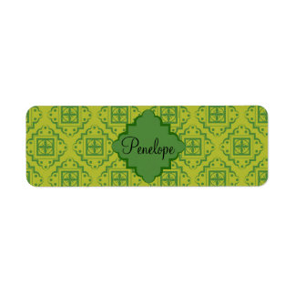 Olive Green Arabesque Moroccan Graphic Pattern Label