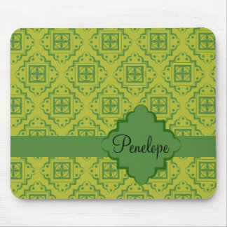 Olive Green Arabesque Moroccan Graphic Pattern Mouse Pad