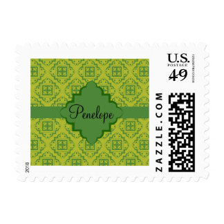 Olive Green Arabesque Moroccan Graphic Pattern Postage