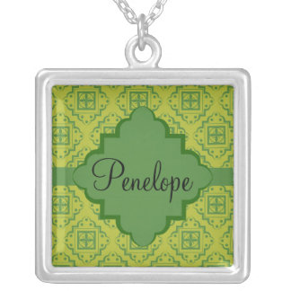 Olive Green Arabesque Moroccan Graphic Pattern Silver Plated Necklace
