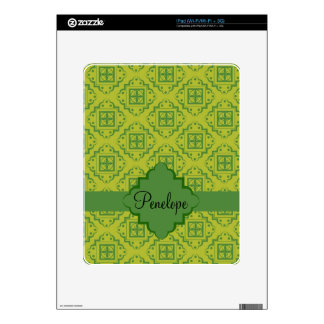 Olive Green Arabesque Moroccan Graphic Pattern Decal For iPad