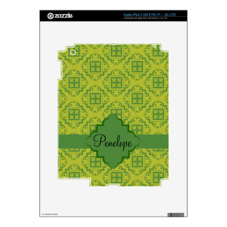 Olive Green Arabesque Moroccan Graphic Pattern Decals For iPad 3