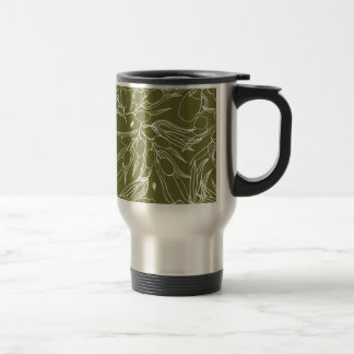 Olive green background travel mug