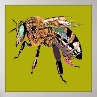 Olive Green Bee Pop Art Poster
