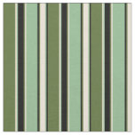 [ Thumbnail: Olive Green, Bisque, Dark Sea Green & Black Lines Fabric ]