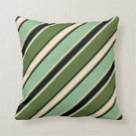 [ Thumbnail: Olive Green, Bisque, Dark Sea Green & Black Lines Throw Pillow ]