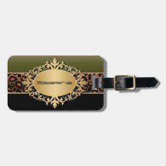 Olive Green, Black and Jaguar Animal Print Bag Tag