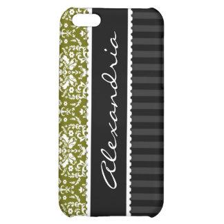Olive Green Black Customized Damask iPhone 4 Case
