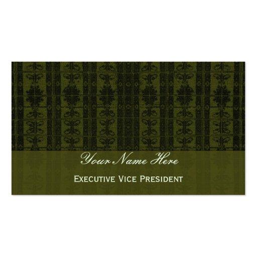 Olive  Green Black Elegant Pattern Business Cards