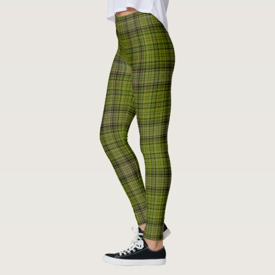 a79b9682f8142 Olive Green Black & Red Giant Tartan Plaid Leggings | Zazzle.com