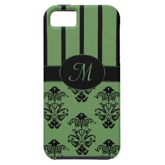 Olive Green & Black Stripes Baroque Monogram iPhone SE/5/5s Case