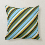 [ Thumbnail: Olive Green, Blue, Mint Cream, Goldenrod & Black Throw Pillow ]