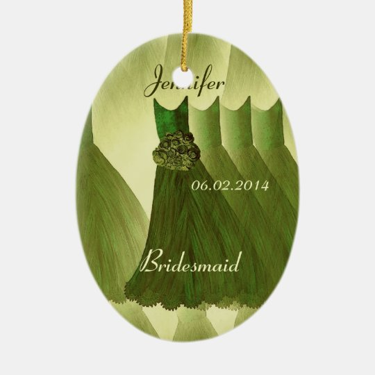 OLIVE GREEN Bridesmaid Thank You Wedding Ceramic Ornament