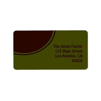 Olive Green Brown Mod Circle Label