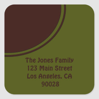 Olive Green Brown Mod Circle Square Sticker