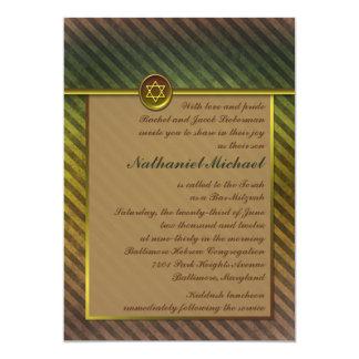 Olive Green, Brown Striped Bar Mitzvah Invitation
