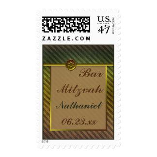 Olive Green, Brown Striped Bar Mitzvah Postage