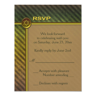 Olive Green, Brown Striped Bar Mitzvah RSVP Card