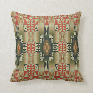 Olive Green Burnt Orange Eclectic Ethnic Look Throw Pillow
