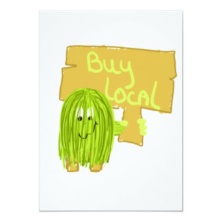 Olive Green Buy Local 5x7 Paper Invitation Card
