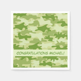 Olive Green Camo Camouflage Congratulations Name Standard Cocktail Napkin