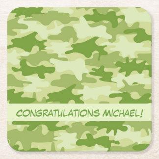 Olive Green Camo Camouflage Congratulations Name Square Paper Coaster